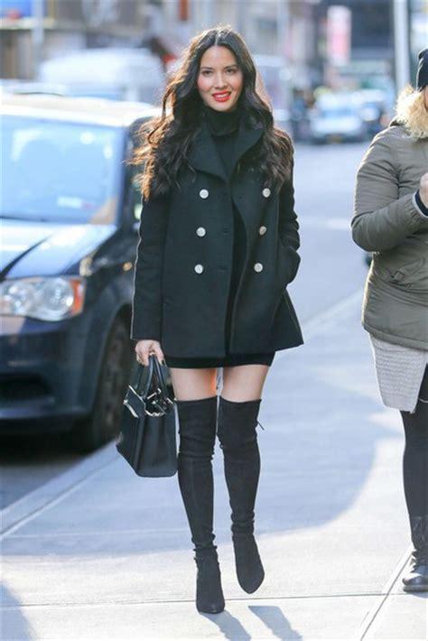 olivia munn boots coat black dress black mini dress boots olivia munn