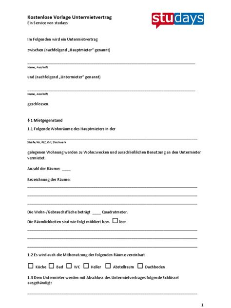 Kostenlose Vorlage Betriebskostenabrechnung kostenlose vorlage untermietvertrag 227 kb