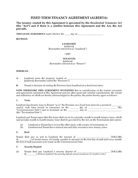 lease agreement template alberta alberta fixed term residential lease forms and