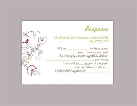 Diy Response Cards Template by Diy Wedding Rsvp Template Editable Text Word File