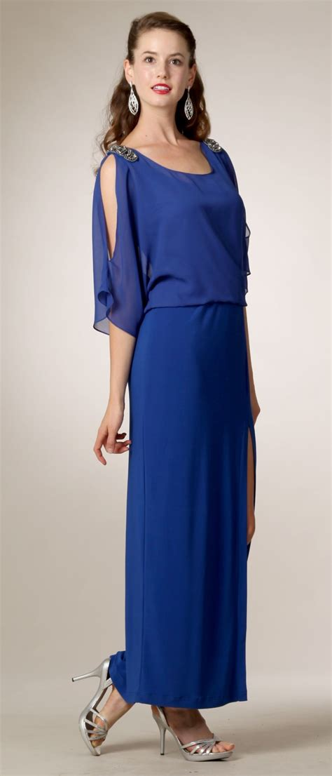 3 4 Sleeve Slit Side Dress royal blue chiffon dress with side slit sleeves side