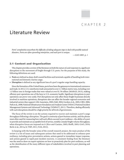Review Of Related Literature Pdf by Chapter 2 Literature Review U S Ports Resilient As Part Of Extended Intermodal