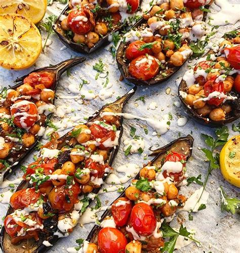 eggplant boats roasted eggplant boats with spiced chickpeas recipe