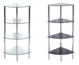4 tier glass shelf corner table shelving unit clear and