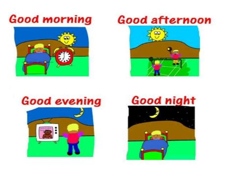 imagenes en ingles good afternoon ficha de trabalho greetings 1 bem explicado