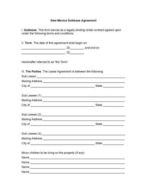 sublet agreement template nyc new mexico sublease agreement legalforms org