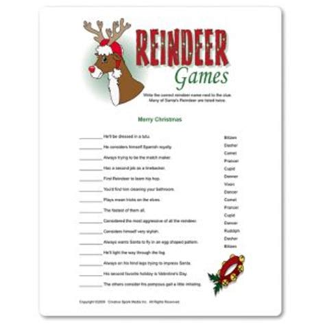printable reindeer names lighthearted cheeky humor for adults centered around santa