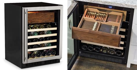 Tiki Home Decor wine fridge with cigar humidor the green head