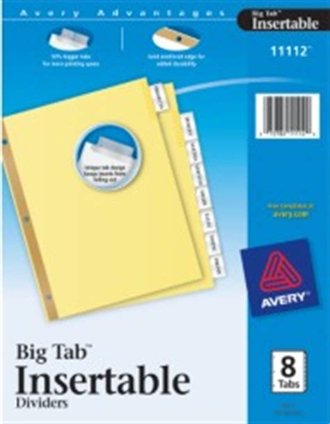 Worksaver Big Tab Insertable Dividers With Buff Paper 11112 8 Tab Set Office Depot Big Tabs Insertable Template