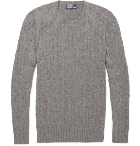 ralph cable knit sweater polo ralph cable knit sweater in gray for
