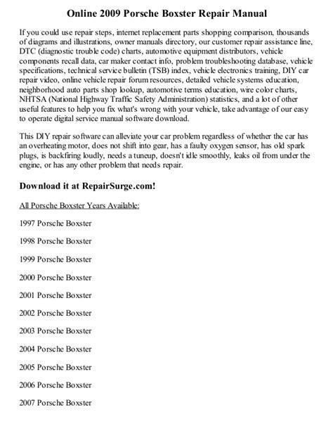 how to download repair manuals 1998 porsche boxster regenerative braking 2009 porsche boxster repair manual online