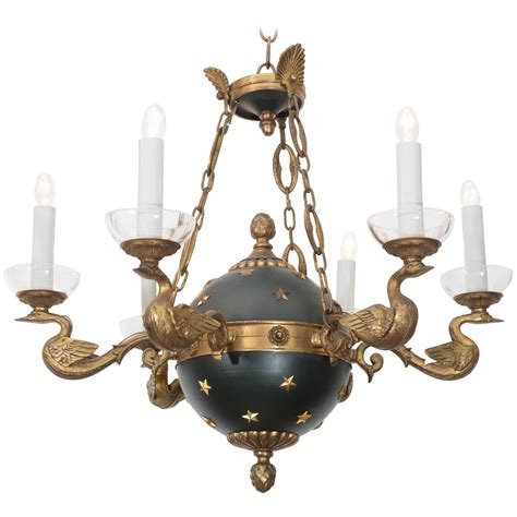 empire style chandelier with celestial globe and