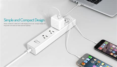 Home Charger 3 Usb Merek Four A 3 ac outlet surge protector power 4 59ft w 4 port