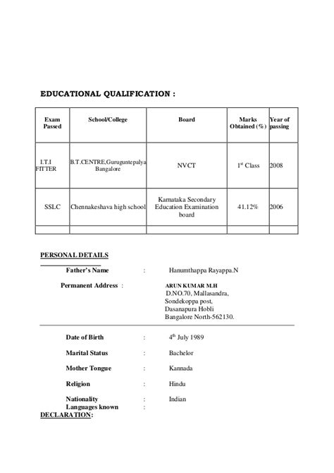 education qualification table format in resume resume