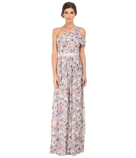 One Shoulder Flower Gown S M L 18193 donna printed one shoulder pink multi zappos free shipping both ways