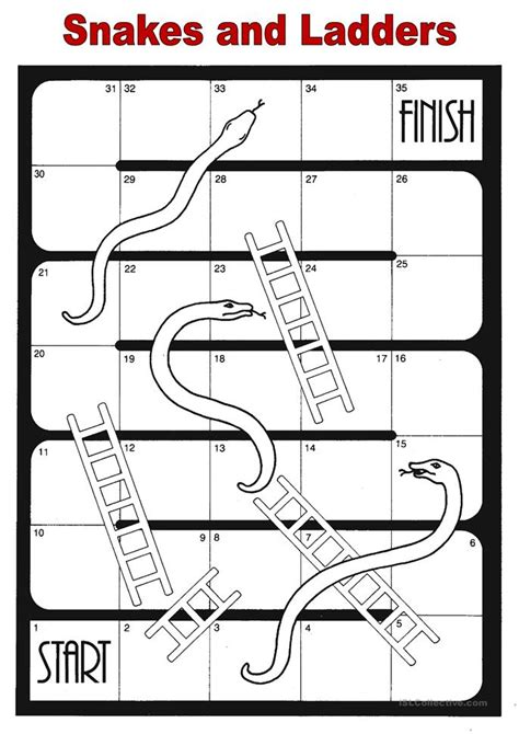 printable snakes and ladders template snakes and ladders worksheet free esl printable