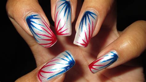 easy nail art blue and white red white blue burst for 4th of july diy nail art