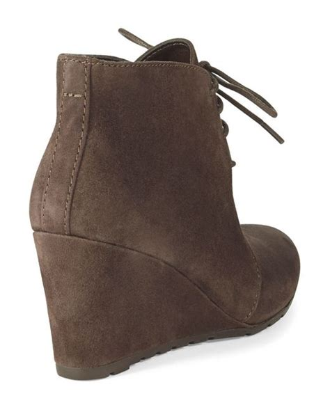 clarks rosepoint dew suede wedge ankle boots in brown