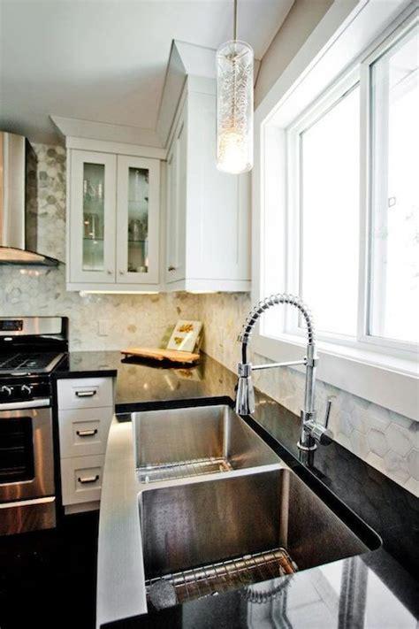 madison taylor design contemporary kitchen  polished marble hexagon tile kitchen backsplash