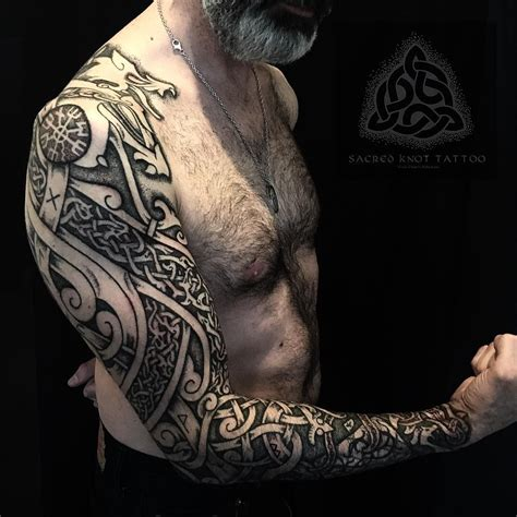 scandinavian tribal tattoos viking wolf prow sleeve this is inspired by