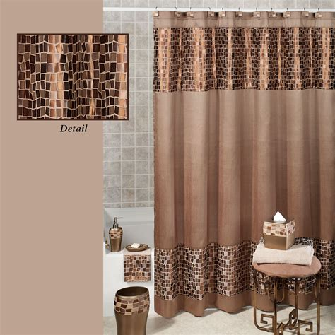 Bathroom Curtains Bronze Mosaic Fabric Shower Curtain