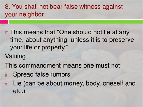 definition borne false witness importance of 10 commandments