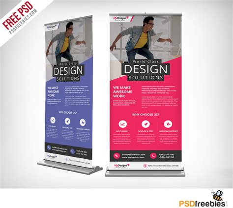 Corporate Outdoor Roll Up Banner Free PSD Download