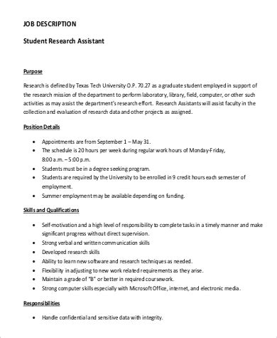 performance evaluation sle research assistant