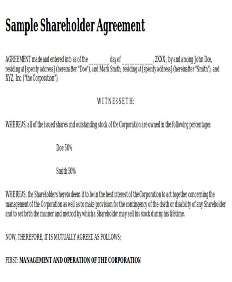 sle shareholder agreement 10 exles in word pdf