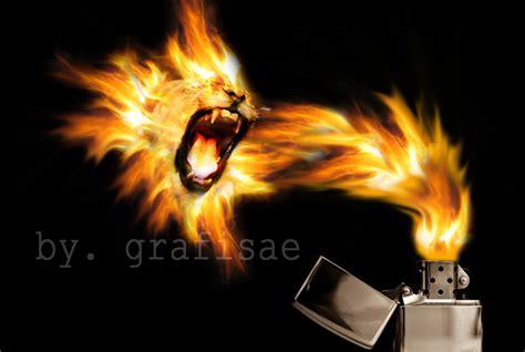 tutorial gambar singa cara membuat kobaran api berbentuk kepala singa dengan