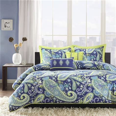 yellow comforter twin twin twin xl 5 piece paisley comforter set in blue and