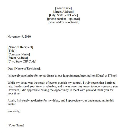 Apology Letter Sle Late Apology Letter For Being Late 7 Free Documents