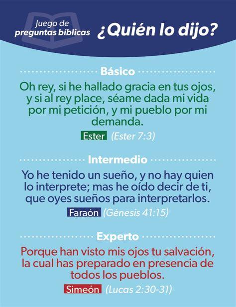 preguntas biblicas y respuestas para mujeres 191 qui 233 n lo dijo juego de preguntas b 237 blicas luciano s
