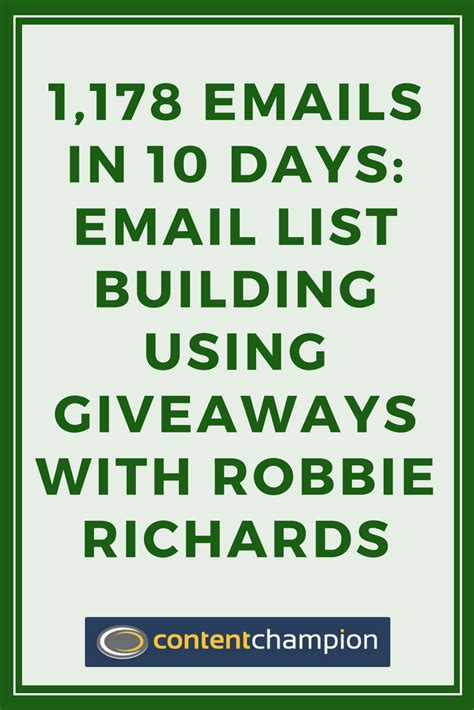 Email List Giveaway - email list building using giveaways with robbie richards
