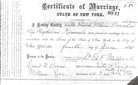 City Of New York Marriage Records Marriage Records New York