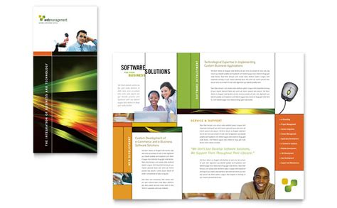 Internet Software Brochure Template Word Publisher Microsoft Word Brochure Template