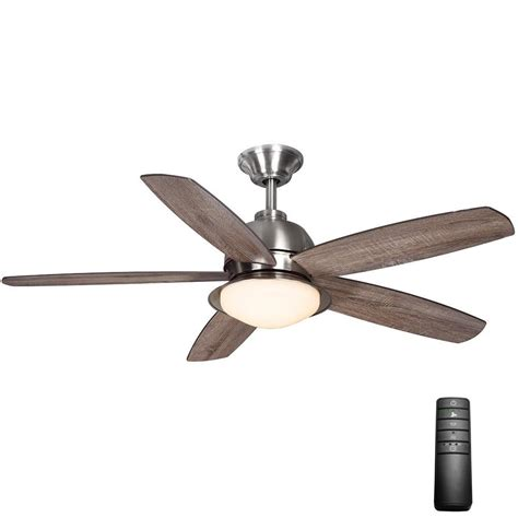 brushed nickel ceiling fan light kit home decorators collection ackerly 52 in led indoor