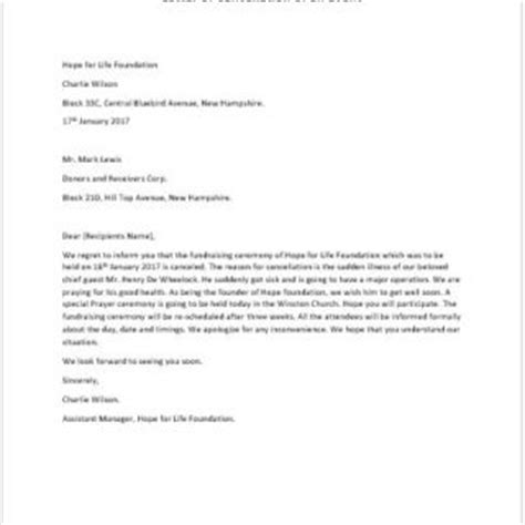 Cancellation Letter For An Event Formal Official And Professional Letter Templates Part 6