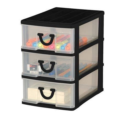 clear nick nack storage 3 drawers assorted colours