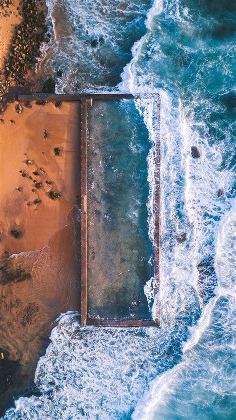 aerial view  beach rocks ocean iphone wallpaper iphone wallpapers