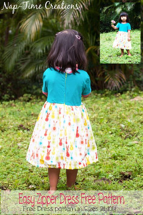 dress pattern nap girls easy zipper dress free pattern life sew savory