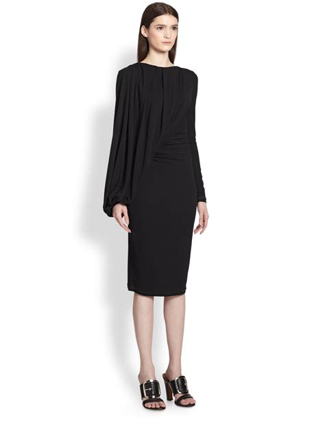 drapery dress lyst givenchy jersey balloon drape dress in black