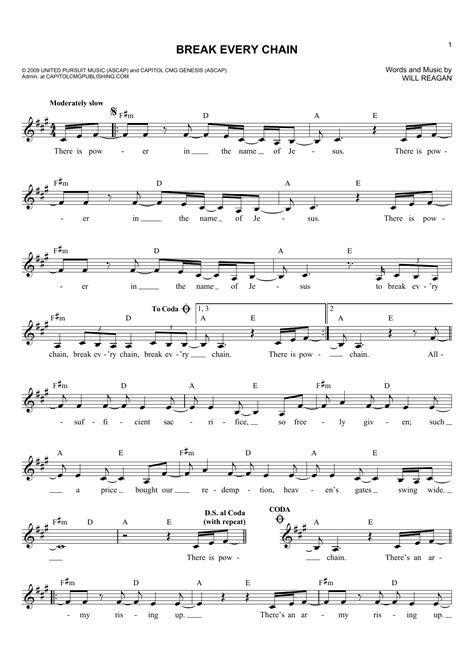 printable lyrics break every chain break every chain sheet music direct