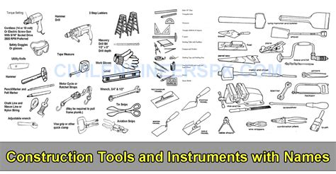construction tools and instruments with names civil