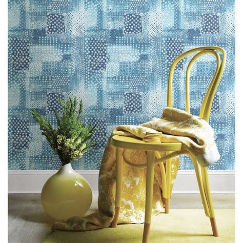 Flower Power Patchwork - a vertex indigo geometric wallpaper sle