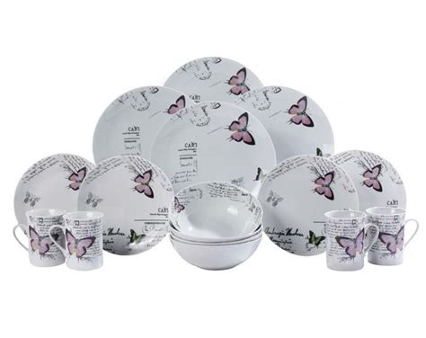 Butterfly Set 12 lilac butterfly dinner set with 4 free matching