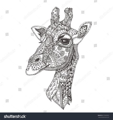 pattern giraffe drawing handdrawn giraffe ethnic floral doodle pattern stock