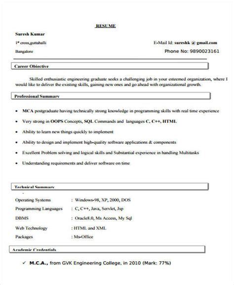 java resume format for freshers 40 fresher resume exles