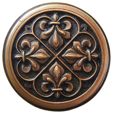 fleur de lis knob antique copper traditional cabinet