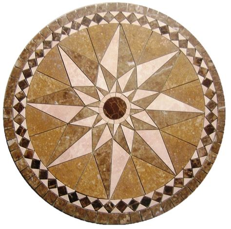 floor marble medallion star noce tile mosaic 32 inch